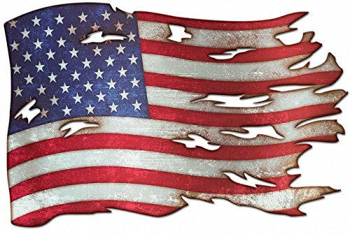 (Tattered American Flag Plasma Cut Metal Sign)