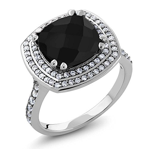 k Onyx Women's Ring 5.22 cttw, 10mm Cushion Checkerboard (Size 8) ()