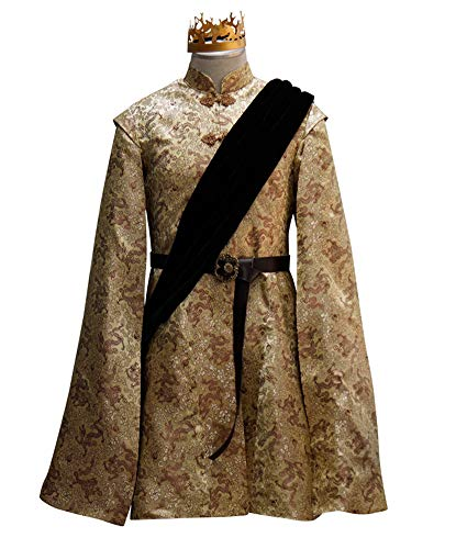 Xiao Maomi King Joffrey Cosplay Costumes Adult Halloween Wedding Outfit with Crown (M, Yellow)]()
