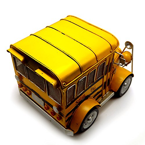 Escomdp Large Size Vintage School Bus,Home Décor, Kids' Room Decoration ,Handmade Collections Metal Vehicle Toy Model(Yellow) by Escomdp (Image #1)