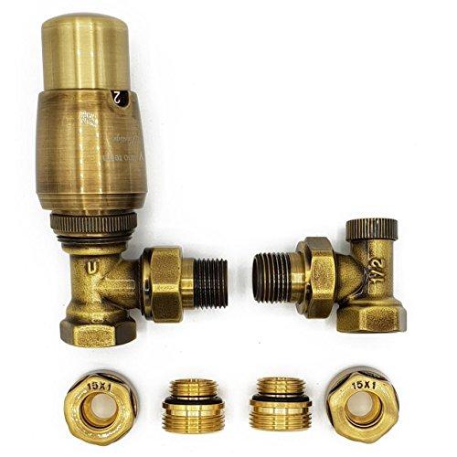 (Angled Version with Copper (Cu) Connectors Elegant Antique Brass Thermostatic Lockshield Valve Radiator Set )