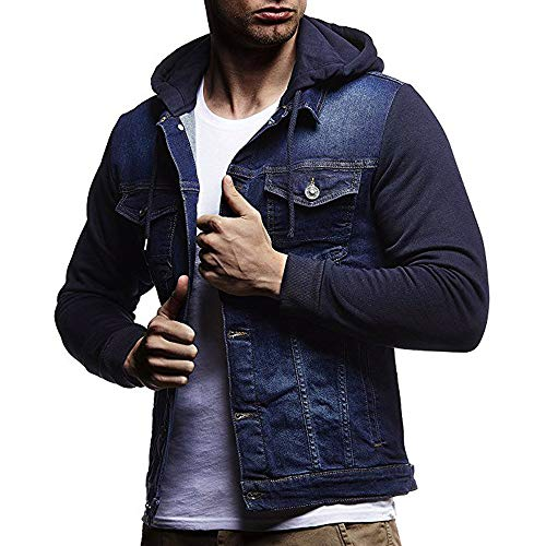 HHei_K Mens Casual Vintage Distressed Hooded Demin Jacket Slim Fit Button up Pocket Drawstring Hoodie Tops Coat by HHei_K (Image #7)