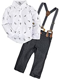 2 Pieces Baby Boys Long Sleeve Shirt Overalls Set...