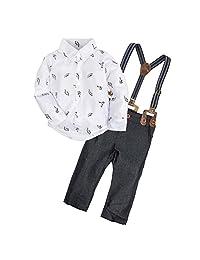 BIG ELEPHANT 2 Pieces Baby Boys Long Sleeve Shirt Overalls Set E34C