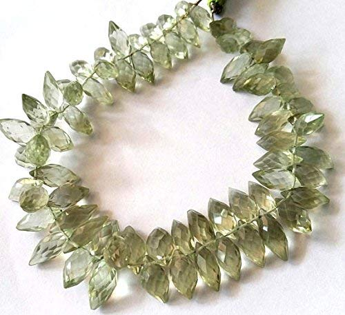 - Natural Green Amethyst Faceted Fancy Shaped Beads, Drops Type Beads, 6x12mm - 7x16 mm Approx 9.5