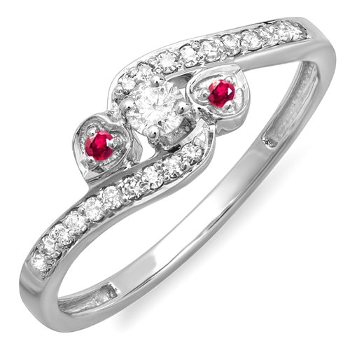 - Dazzlingrock Collection 10k Round Ruby And White Diamond Ladies Bridal Heart 3 Stone Swirl Engagement Ring, White Gold, Size 9