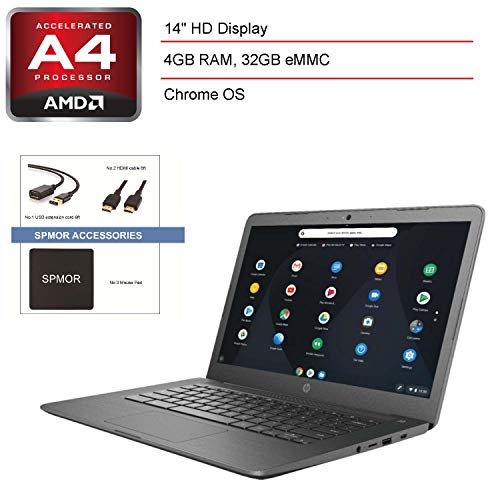 2020 HP 14 Chromebook 14″ Laptop Computer, AMD A4-9120C up to 2.4GHz, 4GB DDR4 RAM, 32GB eMMC, 802.11ac WiFi, Bluetooth 4.2, USB 3.1 Type-C, Gray, Chrome OS+ SPMOR Accessories+ 256GB SD Card
