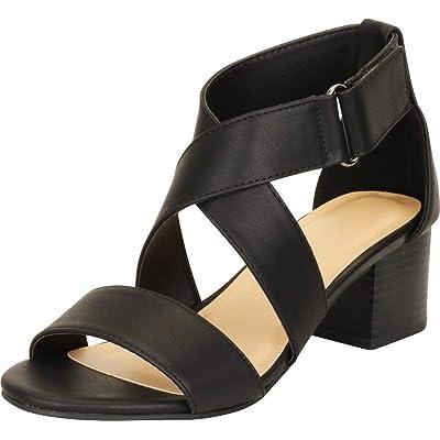 Cambridge Select Women's Open Toe Crisscross Chunky Stacked Block Low Heel Sandal | Heeled Sandals