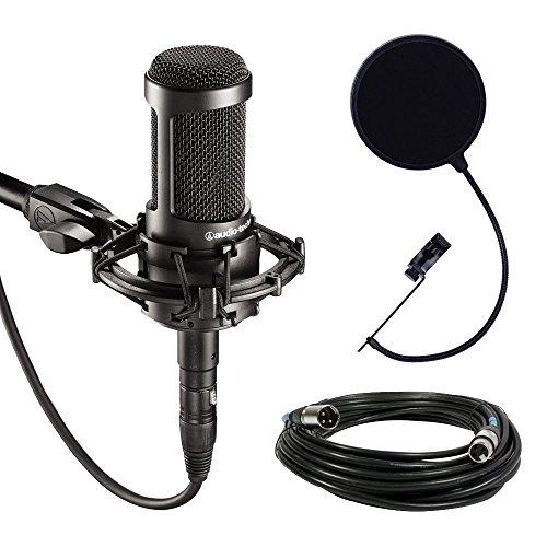 Audio-Technica AT2035 Large Diaphragm Studio Condenser Microphone Bundle with Shock Mount, Pop Filter, and XLR Cable by Audio-Technica