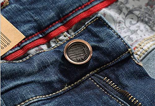 Jeans Pantaloni Denim Uomo Skinny Lunghi Huixin Da Fashion Elasticizzati In Casual Blau E Retro w6tqHd