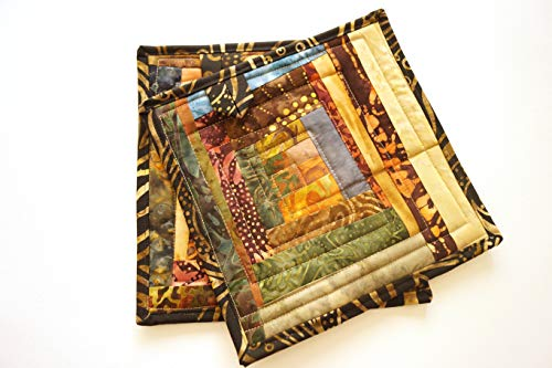 Batik Fabric Patchwork Quilted Pot Holders Set in Fall - Holder Patch Pot