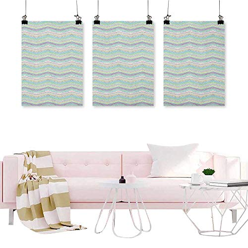 (J Chief Sky Pastel,3 Piece Artwork Painting Hand Painted Style Tribal Design with Zigzag Triangle Motifs Ethnic Stripe Line Canvas Wall Art Painting W16 x L24 x3pcs)