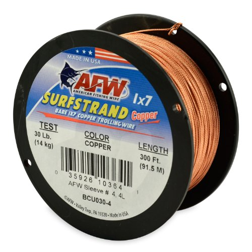 - American Fishing Wire Surfstrand Copper 1x7 Bare Trolling Wire, Copper Color, 30 Pound Test, 300-Feet
