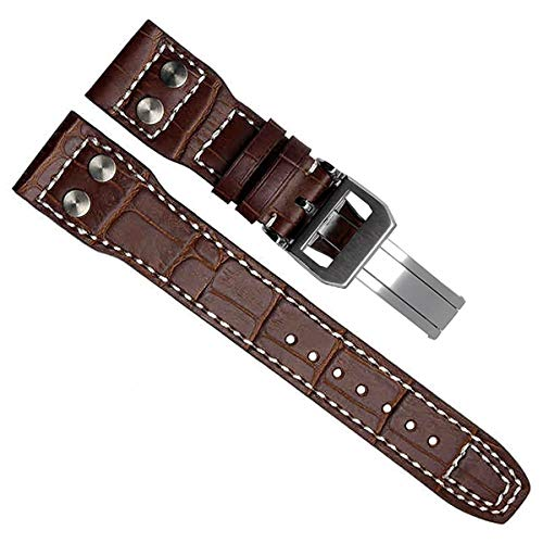22mm Genuine Leather Silver Buckle Watch Strap Band fit for IWC PILOT'S Watchs Brown