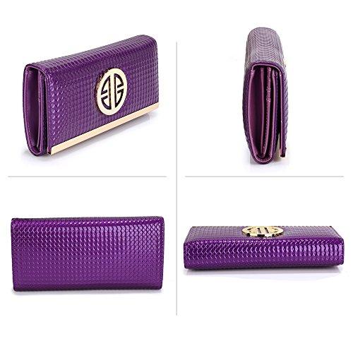 TrendStar - Monedero  Mujer Morado Purple Metal Detail Purse Purple Metal Detail Purse