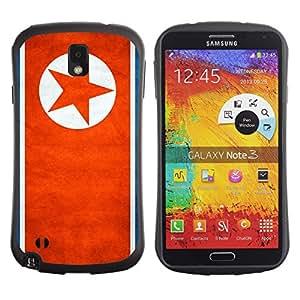 FlagF Premium Hybrid Ballistic Case Samsung Galaxy Note 3 III - North Korea Grunge Flag -