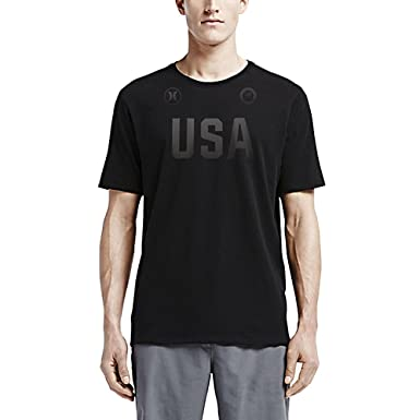 Hurley MTS0022020 Mens Dri-FIT Team (USA) T-Shirt, Black -
