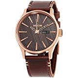Nixon Men's A1052001 Sentry Leather Watch, Rose Gold/Gunmetal/Brown