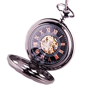 Black Pocket Watch Steampunk Skeleton Mechanical Movement Hand Wind Roman Numerals Cosplay PW-71