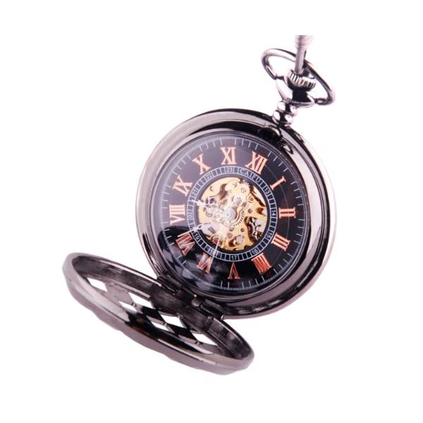 Black Pocket Watch Steampunk Skeleton Mechanical Movement Hand Wind Roman Numerals Cosplay PW-71 4