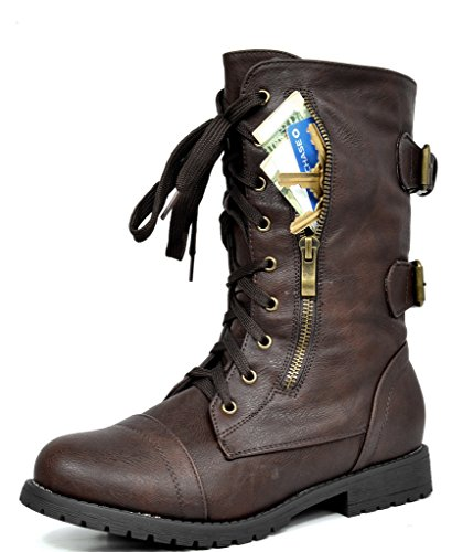 (DREAM PAIRS Women's Terran Snow Brown Faux Fur Lined Mid Calf Riding Combat Boots Size 9.5 M US)