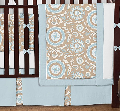 Sweet Jojo Designs 9-Piece Blue and Taupe Hayden Gender Neutral Baby Bedding Girl or Boy Crib Set by Sweet Jojo Designs (Image #1)