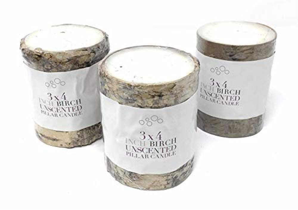 Serene Spaces Living Birch Bark Candle, Small Size, Set of 3 Pillar Style Candle Brings Nature Indoors, 3'' in Diameter & 4'' Tall by Serene Spaces Living