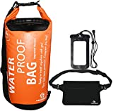 Waterproof Dry Bags Set Of 3 By Freegrace - 20L Dry Bag With 2 Zip Lock Seals & Detachable Shoulder Strap, Waist Pouch & Phone Case - Can Be Submerged Into Water (Orange with Grab Handle)