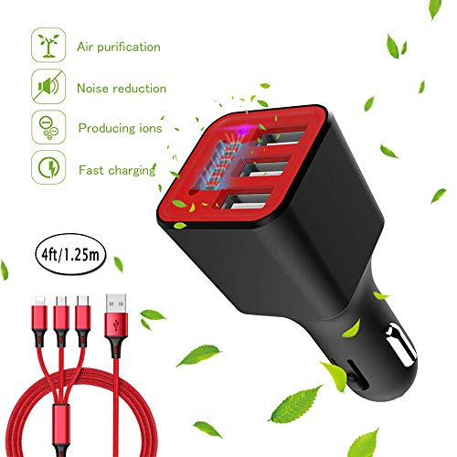 Car Charger,Mini Three Port USB Car Charger Rapid Car Charger with USB Charging Cable 3.1A Quick Charger Adapters Compatible with Tablets Phones Android Note Samsung Galaxy and More Device