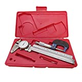 6'' Shockproof Dial Caliper .0001 Micrometer Ruler Mechanical Tool Kit 3 PC