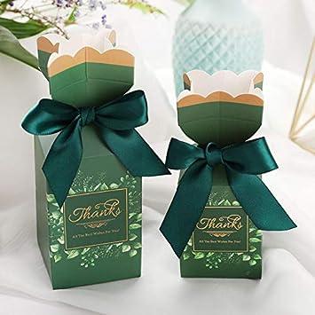 A1 lot bo/îte de Mariage Bo/îte de Bonbons Fleur Romantique Ruban de Soie Carton bo/îte de Cadeau en Papier Sac Cadeaux de Mariage pour Les invit/és de Mariage d/écor S///5x5x11.5cm EVEYYTG 50pcs
