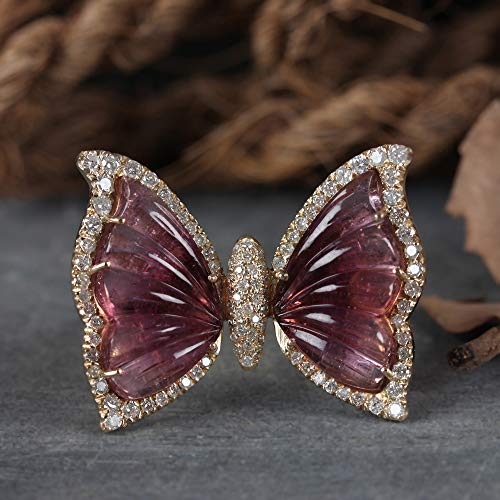 Genuine 13.27 Ct Pink Tourmaline Butterfly Ring Solid 14k Yellow Gold Diamond Pave Fine Wedding Jewelry Christmas Day Gift For Her ()
