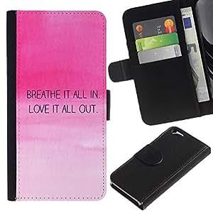 Estuche de Cuero Billetera del tirón Tarjeta de la Bolsa Titular de Suave Caso para Apple Iphone 6 4.7 / CECELL Phone case / / Breath Love Quote Motivational Pink Sky /