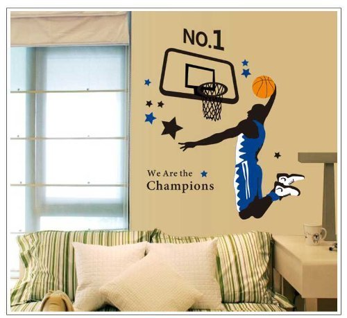 Amaonm Giant Jumping Basketball Superstar -Lettering I Am a Champion Peel & Stick Wall Decals Slam Dunk Basketball Players Wall Stickers DIY Mural Art for Kids Boys Room Bedroom Classroom