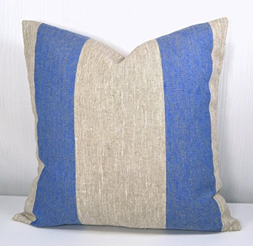 Pillow Cover 18x18 Farmhouse Linen Natural and Blue Wide Stripe