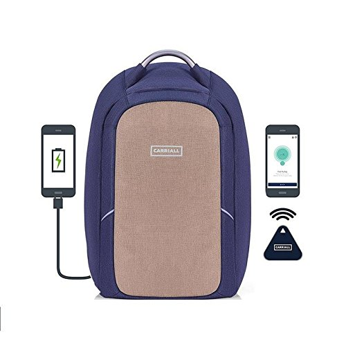 (Carriall Columbus Laptop Backpack with Bluetooth Connectivity with Mobile App, USB Charging Port, Anti-Cut, Anti-Theft, Water Resistant, Office Bag for Business, Work, College, Travel-Beige and Blue)
