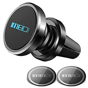 MEIDI Air Vent Phone Holder, Universal Magnetic Phone Car Mount 360 Rotation Cell Phone GPS Holder for iPhone Samsung HTC and Mini Tablets(Black)