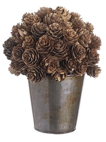 Ella and Lulu XLR731-BR Ball Shaped Pine Cone Topiary in Pot, 7 (Artificial Pine Pot)