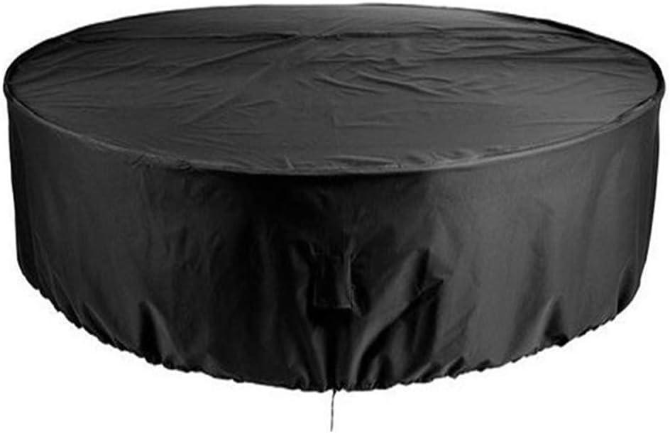 QPllRZZ Patio Exterior Cubiertas Mueble Impermeable Resistente UV Redondo Jardín Mesa Funda Transpirable Circular Mesa y Silla Refugio Funda - como Imagen Show, 230x110cm