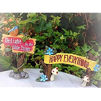 2 Signs HAPPY Everything /& DELIGHT Sign Miniature Dollhouse FAIRY GARDEN ~ Set