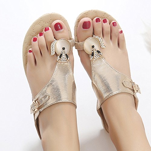 Sandals XIAOLIN Summer Korean Wave Fashion Students Flat With Toe Fox Diamond Flat Women's Slippers(Optional Size) (Color : Black, Size : EU39/UK6.5/CN40) Silver