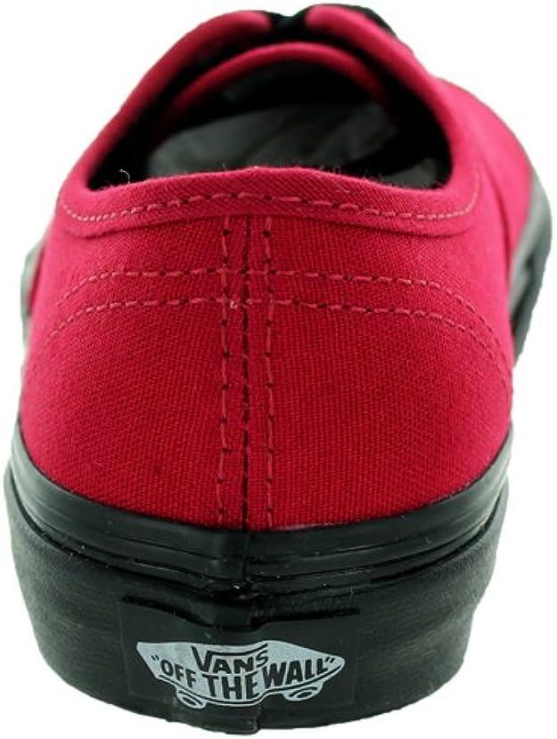 Vans Kids Authentic (schwarz Sohle) Skate Schuh, rot