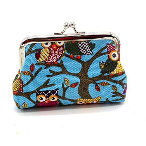 Buy Creazy Women Lovely Style Lady Small Wallet Hasp Owl Purse Clutch Bag (Blue)