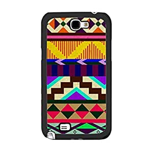 nazi diy Unique Custom Design Aztec Tribal Pattern Chevron Case Cover for Samsung Galaxy Note 2 Note II N7100 Protective Hard Plastic Phone Cover for Guys (colorful geometric)