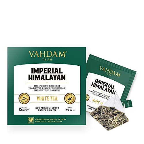 VAHDAM, Imperial Himalayan White Tea 15 Tea Bags, Long Leaf Pyramid White Tea Bags Handpicked Harvest From High Elevation Estates, Pure White Tea, 100% Healthy And Natural, Unblended
