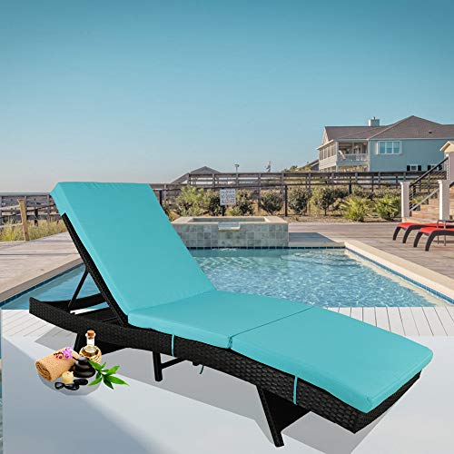 Leaptime Outdoor Chaise Lounge Rattan Chairs Patio Lounger Garden Furniture Pool Sunbed w/Cushion 5 Positions Adjustable Backrest Black Rattan Turquoise Cushion