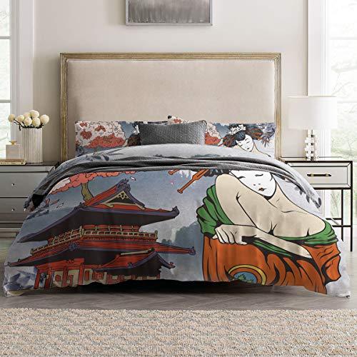 Duvet Cover Sets - Japanese Geisha Kimono Maiko Women 4 Piece Twin Bedding Sets Soft Microfiber Bedspread Comforter Cover and Pillow Shams for Adult/Children/Teens]()