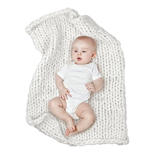 Handmade Infant Toddler Blanket - MHJY Baby Chunky Knit Blanket Photo Props Blanket Knitted Infant Photography Backdrop Thick Yarn Blanket Sleeping Blanket for Newborns (White (Large))
