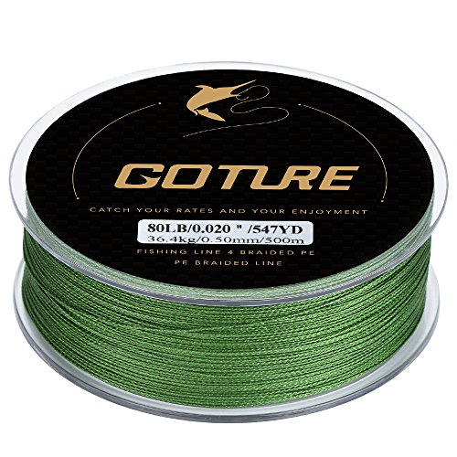 Goture 8-80LB Superpower Braided Fishing Line–Zero Stretch and High Tension Advanced Multifilamentline for Saltwater and Freshwater - Army Green, Blue, Blackish Green, Grey, Yellow- 2017 NEW