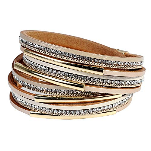 Leather Cuff Bracelet for Women - Boho Beads Wrap Clasp Bangle Bracelet Leather Wristbands Birthday Gifts for Women(Light Brown with Gold -
